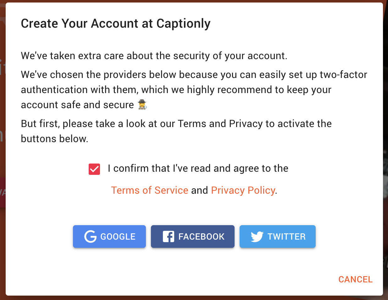 User Authentication at Captionly through Firebase Authentication